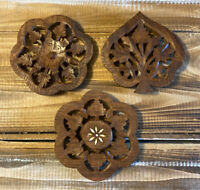 Lot Of 3 Vintage Hand Carved Wooden Footed Trivet Made in India Bohemian