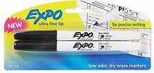 Expo 1871132 Low Odor Dry Erase Markers Ultra Fine Tip Black 2 Count