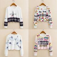 Women Hoodie Sweatshirt Crop Top Jumper Sweater Coat Sports Pullover Tops Shirts