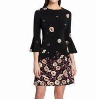 Tommy Hilfiger Womens Sheath Dress Black Size 6 Floral Bell Sleeve $99- 414