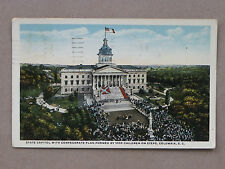 1922 Postcard-SC Capitol With CSA Flag Formed By 1000 Children on Steps