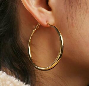 NEW FASHION PAIR OF BIG GOLD PLATED HOOP EARRINGS LARGE CIRCLE CREOLE HOOPS GIFT