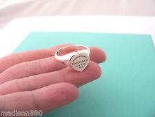Tiffany & Co Return to Tiffany Silver Signet Heart Tag Ring Band Sz 5.75