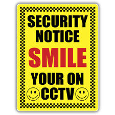 1X SMILE YOUR ON CCTV STICKER 210 x 148mm security warning decal