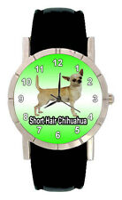 Short Hair Chihuahua Dog Mens Ladies Genuine Leather Quartz Wrist Watch SA1092