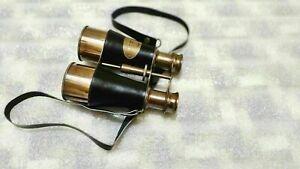 Binocular Marine Black Brown Antique Finish Leather Brass Victorian Binocular