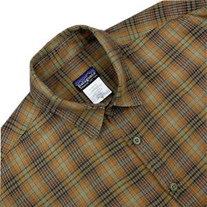 Mens M Patagonia Drab Brown / Green Organic Cotton Plaid Light Flannel Shirt