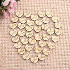 50pcs WOODEN Love HEARTS SHAPE LASER CUT Table Wedding Craft Arts Decoration