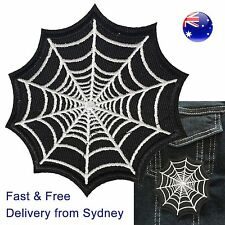 Spiderweb iron on patch -  arachnid spider net embroidery netting - web patches