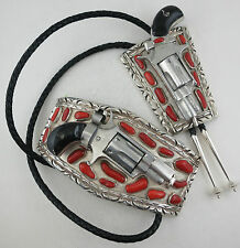 MONSTER 610 Gram Sterling Silver & Coral Western Gun Belt Buckle & Bolo Tie Set