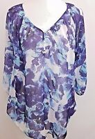 Motherhood Maternity Blouse Shirt Top Women's Small S Blue Floral Water Color