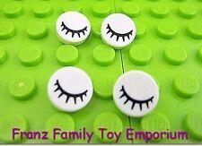 New LEGO Round Tiles Lot of 4 White 1x1 Black Winking Eye/Eyelash Body Part