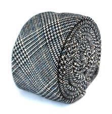 Frederick Thomas homme laine tweed cravate à carreaux noirs avec de subtiles bleu FT2095