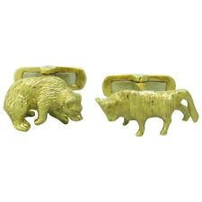 18K Gold Bull and Bear Stockbroker Cufflinks