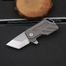 Outdoor D2 Tanto Blade Titanium Handle Keychain Folding Knife Carving Tool MG-4T