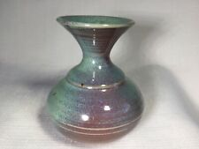 Pottery Clay Weed Pot Vase Burgundy Blue Greens Glaze
