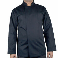 More details for long sleeve chef jacket coat unisex catering kitchen apparel black chef jacket