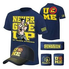 John Cena Ten Years Strong Blue Costume Hat T-shirt Wristbands