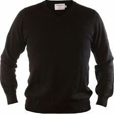 Gents Merino Wool Sweater V-Neck Jumper Plain Black  Large
