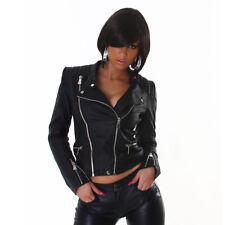Giacca donna chiodo similpelle Nero zip decorative giubbino nuovo