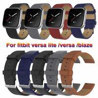 Strap Watch Band Genuine Leather Bracelet For Fitbit versa / versa lite / blaze