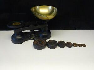 Vintage Salter Staffordshire Cast Iron & Brass Kitchen Scales - Imperial Weights
