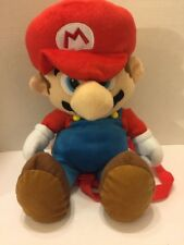 "Nintendo Mario Plush Character Backpack 2011 19""T  Back Straps Pocket Red Blue"