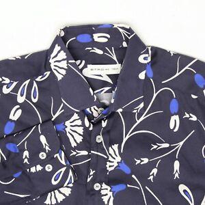 Etro Milano Mens Casual Shirt 41 Navy Royal Blue White Floral Print Italy Cotton