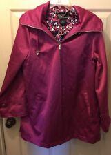 Dennis By Dennis Basso Hooded Woman's Coat or Jacket Lined Burgundy Medium Zip