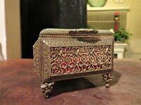 Vintage Hollywood Regency Square Metal & Bevel Glass Trinket Jewelry Box Casket