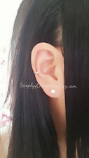 Simple Single Cartilage Helix Conch Criss Cross Ear Cuff Earring Sterling Silver