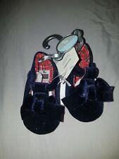 Navy Bow Trim Pram Shoes 6-9m