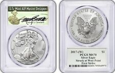 2017-W Silver Eagle MS70 PCGS Signed Thomas Cleveland Green Label First Strike
