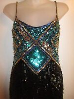 Blacktie Oleg Cassini NWT 4 Dress Heavy Sequin Beaded Metallic Formal Evening