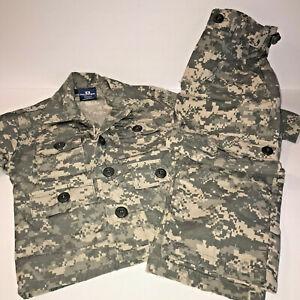 Boys Pretend Play Soldier Camo Uniform Costume BDU Sz 2 Kids Box Army Military