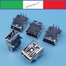 connettore a saldare mini USB femmina 2 fissaggi verticali 5pin 90° PCB