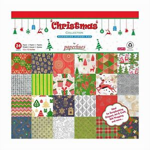 """Paperhues Christmas Collection Scrapbook Papers 12x12"""" Pad, 24 Sheets."""