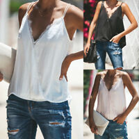Fashion Womens Summer Sleeveless Lace Shirt Blouse Casual Vest Tank Tops T-Shirt