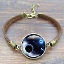 Leather Cord Brown Galaxy Planet Cabochon Adjustable Bracelet USA Shipper #68