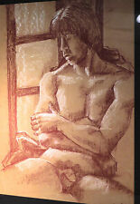 Vintage Modern Nude Male Drawing Sanguine Chalk Painting Hippy Sheila Oettinger