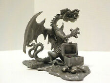 Vintage Pewter Dragon with Spreadwings & Treasure Chest Figurine