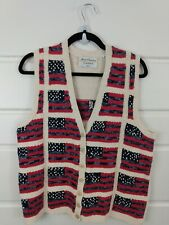 Marisa Christina M American Flag Oversized Sweater Vest Button Down FLAW