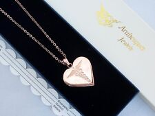 LADIES HEART SOS NECKLACE ROSE GOLD/STAINLESS STEEL. MEDICAL EMERGENCY/TALISMAN