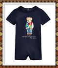 NWT Ralph Lauren Baby Boys Polo Bear Cotton SHORTALL ROMPER NB 3 MOS 6 MOS