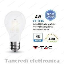 Lampadina led V-TAC 4W E27 VT-1934 A60 frost bianca filamento lampada opaca bulb