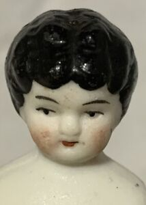 """Antique German Low Brow China Bisque 4"""" Dollhouse Lady Doll to Dress"""