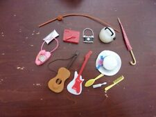 Vintage Barbie Accessories 1960s Record Player-Telephones-Guitar- Fishing Pole