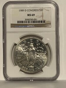 1989 D United States Congressional Commem. Silver Dollar NGC MS-69