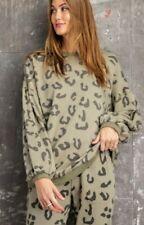 EASEL Brand Anthropologie Women's Animal Print Leopard Sweatshirt  Green Large