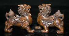 """3.8""""Old China Boxwood Wood Carved Feng Shui Pixiu Beast Wealth Lucky Statue Pair"""